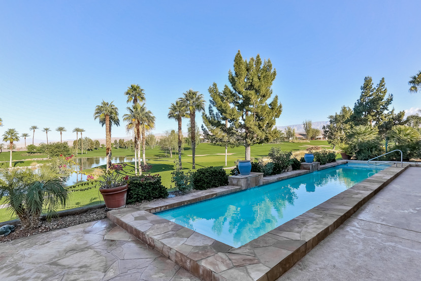 Pool and golf course in Coachella Valley